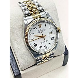 Rolex Datejust 16000 18K Yellow Gold & Stainless Steel White Dial Jubilee Band