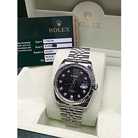 Rolex 116234 Datejust Stainless Steel Black Jubilee Diamond Dial Box & Papers