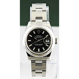 Original ROLEX Ladies 26mm Stainless DateJust 179160 Black Index Watch Full set