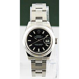 Original ROLEX Ladies 26mm Stainless DateJust 179160 Black Index Watch Full set