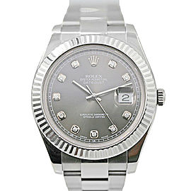 Mens' Rolex Datejust II Stainless Steel w/ Silver Dial & 18k WG Bezel 116334