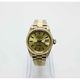 Rolex Ladies President Datejust 6917 Bark Finish 18K Yellow Gold Box & Papers