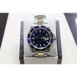 Rolex Submariner 16613 Blue 18K Gold & Stainless Steel Gold Through Buckle