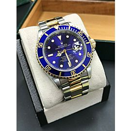 Rolex Submariner Blue 16613 18K Yellow Gold & Stainless Steel Box & Papers
