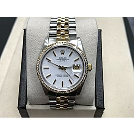 Rolex Date 15053 Diamond Bezel 18K Yellow Gold & Stainless Steel White Dial