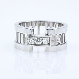 Tiffany & Co Atlas Open Band Ring in 18k White Gold with Diamonds