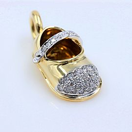 Aaron Basha 18k Yellow Gold Baby Shoe Charm with Diamond Toe & Strap