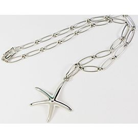 Tiffany & Co. Peretti Starfish Necklace Oval Link Chain Silver