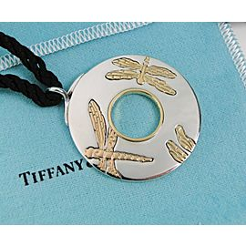 Tiffany & Co. 18K Yellow & Rose Gold & Silver Dragonfly Disc Pendant RARE Adj