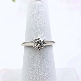 Tiffany & Co Platinum Round Diamond Engagement Ring 0.71 cts H VS2 Papers Boxes