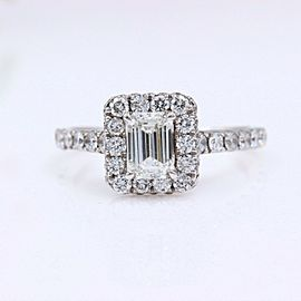 Neil Lane Diamond Engagement Ring Emerald Cut 1.54 tcw I SI1 14k White Gold