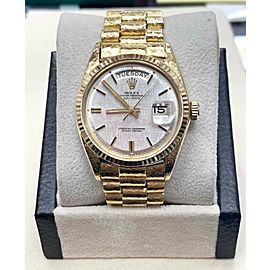 Rolex Day Date President 1803 18K Yellow Gold Silver Dial Florentine Finish 1966