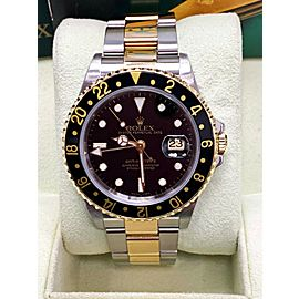 Rolex GMT Master II 16713 Black Dial 18K Yellow Gold & Steel Box & Booklets