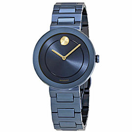 MOVADO BOLD 3600499 BLUE IP SWISS QUARTZ STEEL LADIES 34MM WATCH WATCH