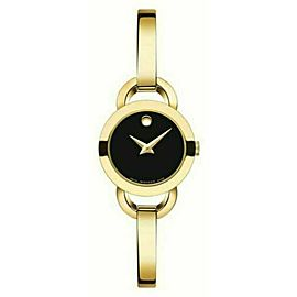 MOVADO RONDIRO 0606888 LADIES BLACK DIAL SWISS QUARTZ 22MM GOLD WATCH