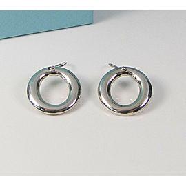 Tiffany & Co Silver Peretti Large Sevillana Circle Drop Dangle Hook Earrings