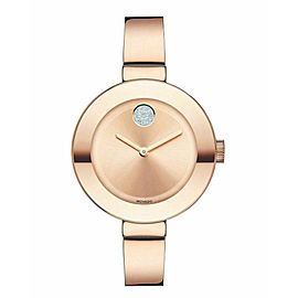 MOVADO BOLD 3600202 SWAROVSKI ROSE GOLD LADIES BANGLE QUARTZ WATCH