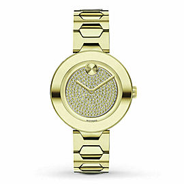 MOVADO BOLD T-BAR CARNATION 3600492 GOLD TONE LADIES SWISS QUARTZ WATCH