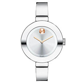 MOVADO BOLD 3600194 SUNRAY DIAL LADIES BANGLE QUARTZ STEEL WATCH