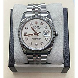 Rolex 116234 Datejust Silver Diamond Dial Stainless Steel & 18K White Gold Bezel