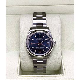 Rolex Oyster Perpetual Midsize 31mm 177200 Blue Dial Stainless Steel Box & Paper