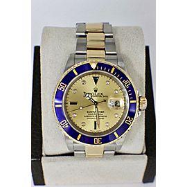 Rolex Submariner 16613 Champagne Serti Diamond Dial 18K Gold & Steel Box & Paper