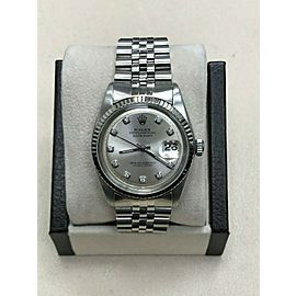 Rolex 1601 Datejust Silver Diamond Dial Stainless Steel
