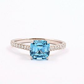 Tiffany & Co LEGACY Aquamarine and Diamond Ring in Platinum 1.17 TCW