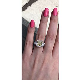 White Platinum with Center 3.00ct. Fancy Light Yellow Engagement Ring