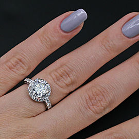 14k White Gold Engagement Ring features 2.70ct. Total Diamonds