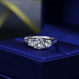 14k White Gold Engagement Ring with 1.50ct. Total Diamonds