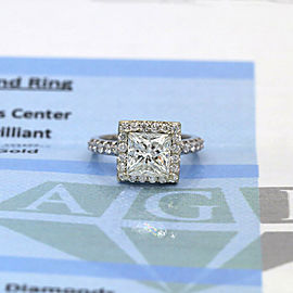 14k White Gold AGI Certified Engagement Ring featured with Natural 4.02ct. DIA