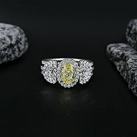 Amazing Platinum Cocktail Ring featured with 3.50ct. Total Carat Weight Diamonds