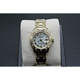 Rolex Ladies Pearlmaster 80318 MOP Dial 12 Diamond Bezel 18K Yellow Gold