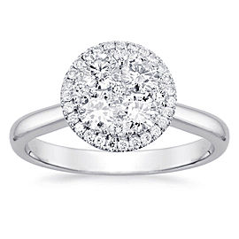 Round Halo Cluster Engagement Ring with 0.35ct. of Total Diamond Weight
