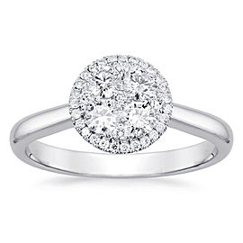 Round Halo Cluster Engagement Ring with 0.25ct. of Total Diamond Weight
