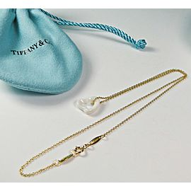 Tiffany & Co Peretti White Chalcedony Open Heart Pendant 18K YG Necklace