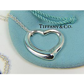 "Tiffany & Co HUGE Elsa Peretti 35mm Silver Open Heart on 30"" Chain"