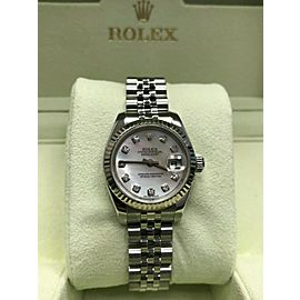 Rolex Ladies Datejust 179174 MOP Diamond Dial 18K Stainless Steel Box Paper