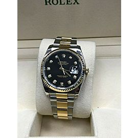 Rolex Datejust 116233 Diamond Dial 18K Yellow Gold & Stainless Box Paper 2016