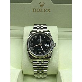 Rolex Datejust 116234 Black Roman Dial Stainless Steel & 18K WG Box Booklets