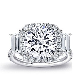 Amazing 18k White Gold Engagement ring with 4.30ct. Total Diamonds