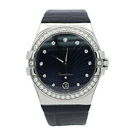 Ladies Omega Constellation Watch w/ Diamond Bezel and Dark Purple Dial