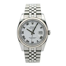 Mens Rolex Datejust Stainless Steel w/ 18k White Gold Fluted Bezel & White Dial