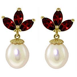 9.5 CTW 14K Solid Gold Dangling Earrings Cultured Pearl Garnet