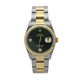 Rolex Datejust Two-Tone w/ Onyx Diamond Dial 16203