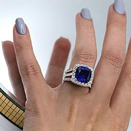 18k White Gold Cocktail Ring w/ 6.5ct. Sapphire & 2.00ct. Diamonds