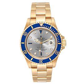 Rolex Submariner Yellow Gold Diamond Sapphire Serti Dial Watch 16618