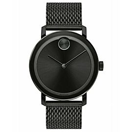 BRAND NEW MOVADO MEN'S BOLD METALS 3600261 SWISS QUARTZ BLACK MESH STEEL WATCH
