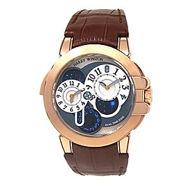 Harry Winston Ocean Dual Time 18k Rose Gold Watch Grey & White OCEATZ44RR001